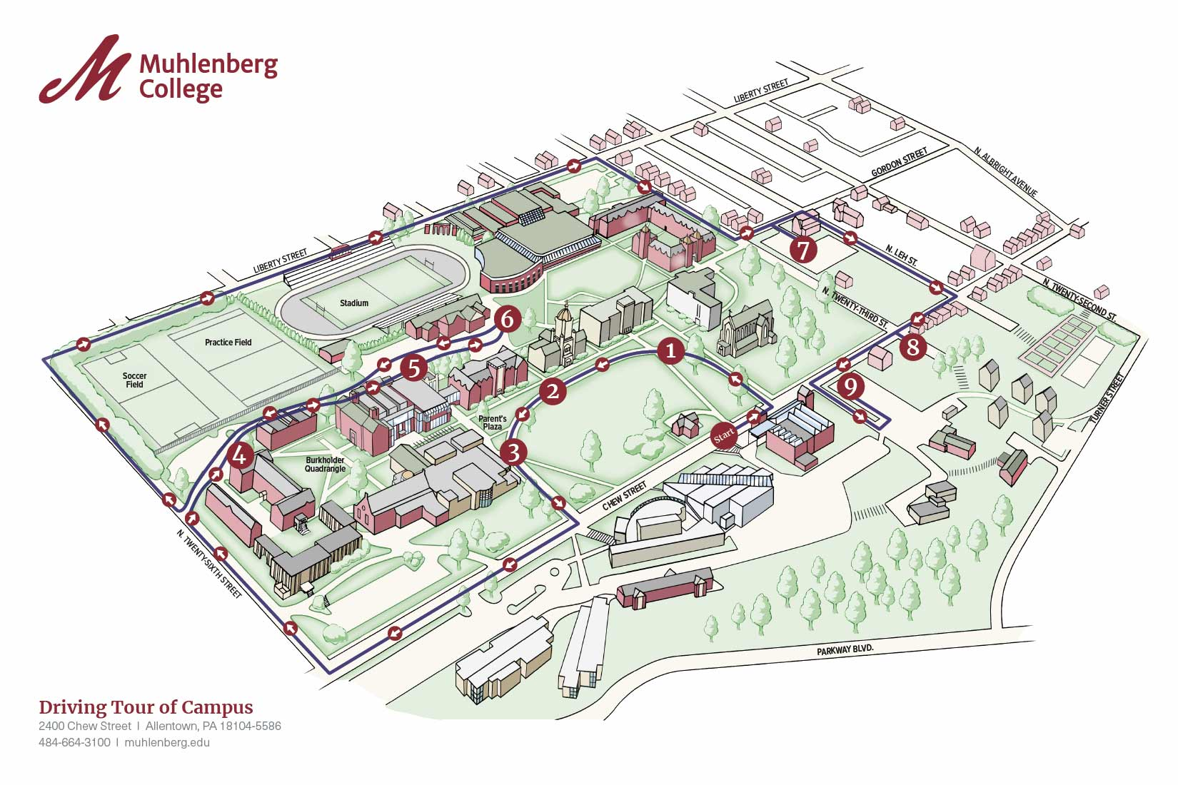 Muhlenberg campus map with driving tour information