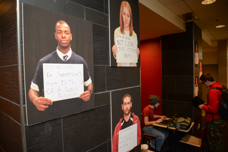 Posters in Seegers Union Light Lounge speaking out against sexual assault.