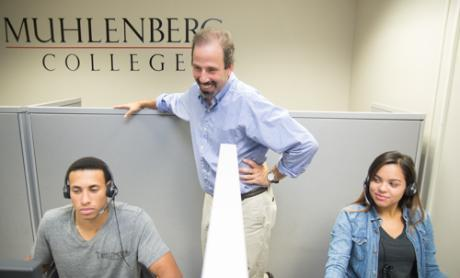 Chris Borick and two students at the Muhlenberg College Institute of Public Opinion